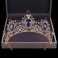 Vintage Purple Crystal Tiara Crown Wedding Birthday Prom Party