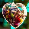 5PCS Heart Shaped Clear Plastic Christmas Balls Craft Baubles Xmas Tree Ornament