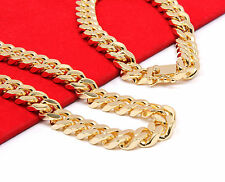 "Mens 14k Gold Plated Heavy Thick Cut Hip Hop Chain & Bracelet 30"" Cuban Necklace"