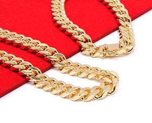 "Mens 14k Gold Plated Heavy Thick Cut Hip Hop Chain & Bracelet 30"" Cuban Necklace"