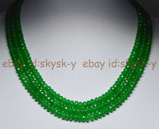 3Rows Natural Emerald 4X6mm Faceted Rondelle Beads Gems Necklaces 17-19""