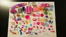 Lot of Barbie doll accessories- surf board, cases, kitchen, food, hair, boom box
