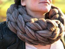 Brown Melange Super Chunky Knitted Merino Wool Chunky Infinity Oversized Scarf