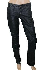 Galliano Women's Jeans Black Metallic Stretch Size 29