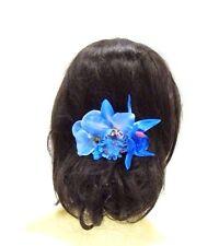 Light Blue Orchid Flower Hair Comb Bridesmaid Clip Rockabilly 1950s Vintage 3037