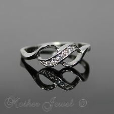 REAL SOLID 925 STERLING SILVER SIMULATED DIAMOND INFINITY FOREVER LOVE RING