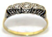 Antique Ladies Womens 18ct 18carat Yellow Gold 5 Stone Diamond Ring Size Q