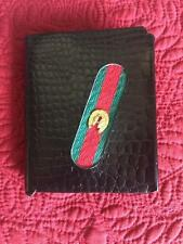 Vintatge Wallet Red+Green Stripe Black Alligator Grain Embossed Cowhide Leather