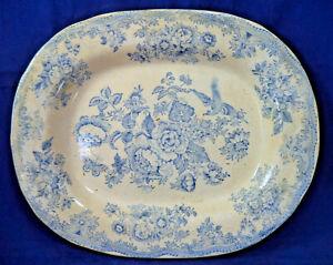 Antique Asiatic Pheasant Blue White Transferware Charger Platter Plate Stoneware