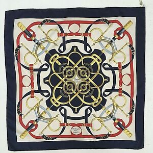 Vtg Hermes Eperon D'or Silk Twill Scarf 89cm H D'Origny