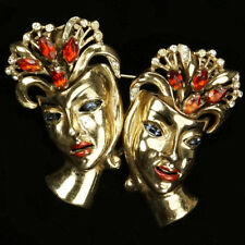 Corocraft Sterling Gold Ruby Sapphire and Enamel Ladies' Faces Pin Clip Duette