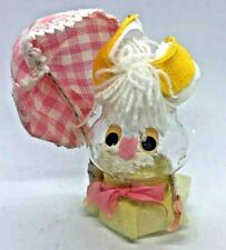 Vintage 1974 Glass Easter Bunny Ornament w/ White & Pink Umbrella & Yellow Ears