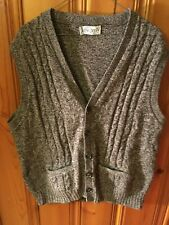 Vtg Jantzen Mens Knitted Sweater Vest Sz XL made in USA Brown Tweed Grandpa P-O
