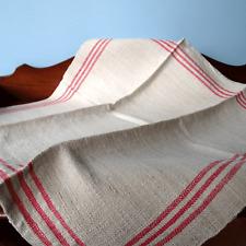 Antik Bauern Leinen Handtuch Geschirrtuch rote Streifen • Linen Towel um 1900