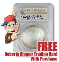 2014-P Baseball HOF Silver $1 -- PCGS MS70 -- Hand Signed By Roberto Alomar