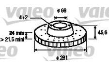 VALEO Juego de 2 discos freno Antes 281mm ventilado VOLVO S40 MITSUBISHI 186707