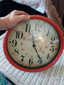Large Wall Clock Rustic Antiqued Red Metal Big Numbers Vintage Style Farmhouse