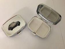 Fiat 600 ref65 pewter effect car emblem on a silver metal pill box