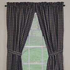 Primitive Country Navy Sturbridge Panel Curtains 72WX84L Lined Plaid Cotton