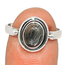 Black Sunstone, Namibia 925 Sterling Silver Ring Jewelry s.7.5 BR83082