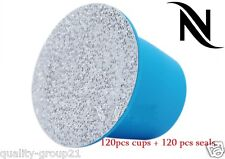 120pcs Nespresso Refillable Capsules + seal pods stickers ship to us & worlwide