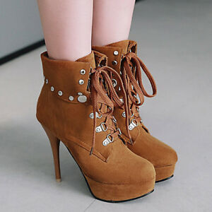 Women Rivet Round Toe Ankle Boots Stiletto Heels Lace Up Platform Party Shoes