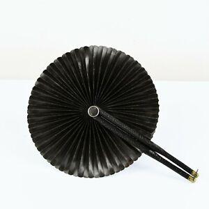 Vintage 1900s Black Round Leather + Brass Edwardian Mourning Paper Hand Fan