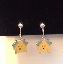 Bows Clip On Earrings Yellow Dog With Green