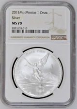 2011 Mo Mexico Silver 1 Onza Libertad NGC MS 70  - Only 37 MS 70