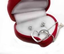 Herzkette im Schmuck Set + Ohrstecker Sterling Silber 925 Samtbox Valentinstag