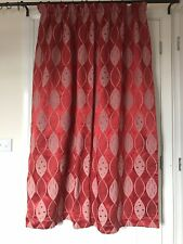 "Vtg Retro 60's Red & White Cotton Satin Lined Curtains 42.5""W/55""L Pr 1"