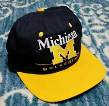 VINTAGE Michigan Wolverines SNAPBACK HAT Twins Enterprise 90's logo athletic/7