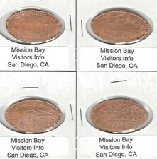 DA095 Mission Bay Visitors Info, San Diego, CA. set of 4 elongated coins