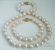 HS Baroque Akoya Cultured Pearl 9.5X12.5mm Bracelet & Necklace Set 14K Diamonds