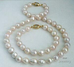 HS Baroque Akoya Cultured Pearl 9.5X12.5mm Bracelet & Necklace Set 14K Diamonds