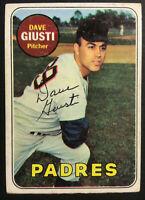 Dave Giusti Padres signed 1969 Topps baseball card #98 Auto Autograph