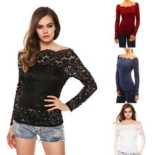 Womens Casual Off shoulder Lace Slim T-Shirt Top Ladies Long Sleeve Blouse UK