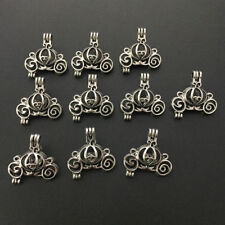 10pcs Small Pumpkin Carriage Pearl Beads Cage Pendant Locket Jewelry Making DIY