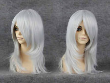 Womens Long Silver Glitter Disco Wig Gray Straight Hair Costume Halloween  wigs