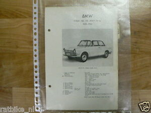 B1-BMW TYPEN 700, 700 SPORT EN LS 1959-1962 -TECHNICAL INFO VINTAGE CAR