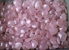 WHOLESALE PRICE! 50Pcs Beautiful Pink Rose Quartz Crystal Polished Love Heart