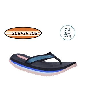 Original Surfer Joe Thongs Mens Wide Black Blue Sand Flip Flops Jandals