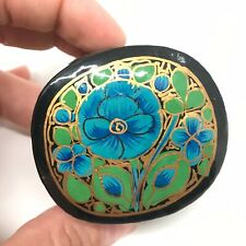 Gift Box Handmade in Nepal - Small Handpainted Blue Floral Decorative Paper Box