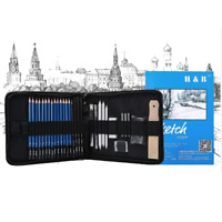 32PCS Drawing Sketching Pencils Set with 16 Sheets Sketch Book Zipper Carry Bag