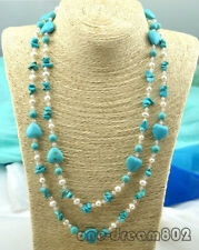 48inches baroque turquoise white pearl crystal necklace