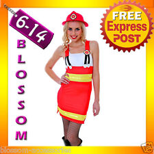 J81 Ladies Fire Fighter Fireman Outfit Fancy Dress Night Party Costume & Helmet