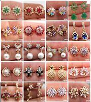 26 style 18K Gold Filled Stud Earrings Pearl Topaz Gemstone Women Zircon wedding