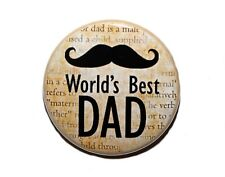 "WORLD'S BEST DAD - Pinback Button Badge 1.5"" Mustache"