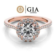 0.75 Carat GIA Certified Solitaire Halo Style Engagement Ring in 14K Rose Gold