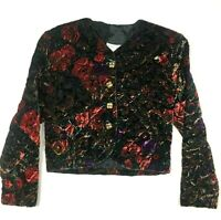 Robyn Faune Womens S Vintage 80s Velvet Jacket Blazer Black Red Quilted Floral